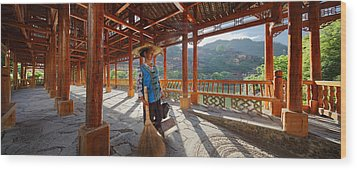 Wood Print featuring the photograph Panorama - Hi-res - Wooden Bridge And It's Cleaner by Afrison Ma