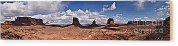 Panorama - Monument Valley Park Wood Print by David Blank