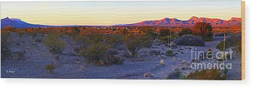 Panorama Morning View Of Mountains Wood Print by Roena King