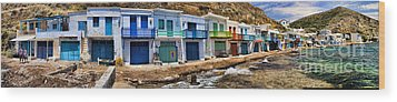 Panorama Of Tiny Colorful Fishing Huts In Milos Wood Print by David Smith