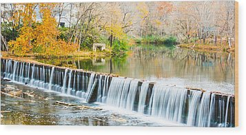 Panorama Of Buck Creek In Autumn Wood Print by Parker Cunningham