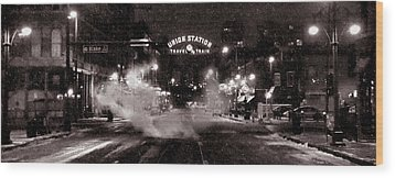 Panorama Of Denver Union Station During Snow Storm Wood Print