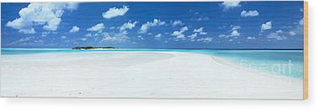 Panorama Of Deserted Sandy Beach And Island Maldives Wood Print by Matteo Colombo