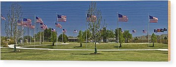 Wood Print featuring the photograph Panorama Of Flags - Veterans Memorial Park by Allen Sheffield
