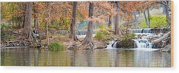 Panorama Of Guadalupe River In Hunt Texas Hill Country Wood Print by Silvio Ligutti