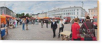 Panorama Of Helsinki Inner Harbor Panorama Wood Print by Thomas Marchessault
