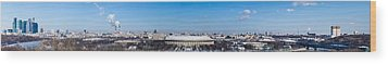 Panorama Of Moscow From Sparrow Hills - Featured 3 Wood Print by Alexander Senin