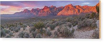 Panorama Of Rainbow Wilderness Red Rock Canyon - Las Vegas Nevada Wood Print