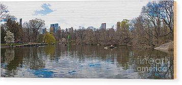 Panorama Of The Lake Of Central Park New York City Wood Print by Thomas Marchessault