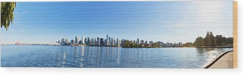 Panorama Of Vancouver Harbor Wood Print