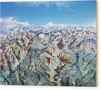 Panorama Of Yosemite Park Wood Print by Pg Reproductions