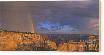 Wood Print featuring the photograph Panorama Rainbow Over Cape Royal North Rim Grand Canyon National Park by Dave Welling