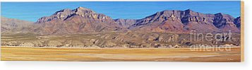 Panorama Sierra Caballo Mountains And Dry Lake Bed Wood Print by Roena King