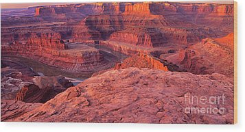 Wood Print featuring the photograph Panorama Sunrise At Dead Horse Point Utah by Dave Welling