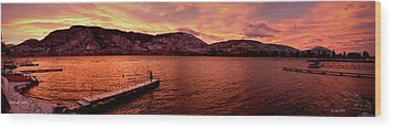 Panorama Sunset Skaha Lake Wood Print by Guy Hoffman