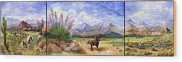 Panorama Triptych Don't Fence Me In  Wood Print by Marilyn Smith