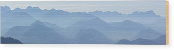 Wood Print featuring the photograph Panorama View Of The Bavarian Alps by Rudi Prott