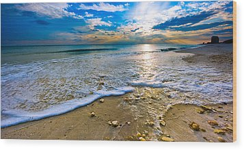 Panoramic Beach Sunset Wood Print by Eszra Tanner