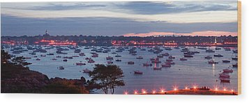 Panoramic Of The Marblehead Illumination Wood Print