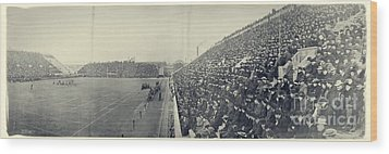 Panoramic Photo Of Harvard  Dartmouth Football Game Wood Print by Edward Fielding