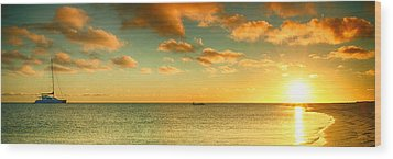 Panoramic Photo Sunrise At Monky Mia Wood Print by Yew Kwang