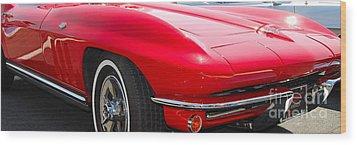panoramic red Corvette Wood Print