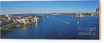 Panoramic Sydney Harbour Wood Print by Kaye Menner