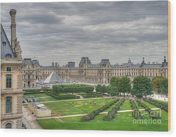 Panoramic View Musee Du Louvre Wood Print by Malu Couttolenc