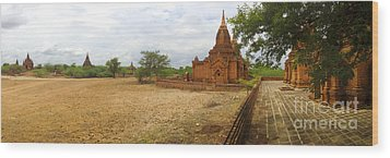 Wood Print featuring the photograph Panoramic View Next To Dhammayazika Pagoda Built In 1196 By King Narapatisithu by Ralph A  Ledergerber-Photography