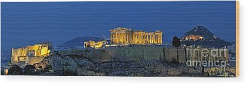Panoramic View Of Acropolis Of Athens Wood Print