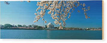Panoramic View Of Jefferson Memorial Wood Print by Panoramic Images
