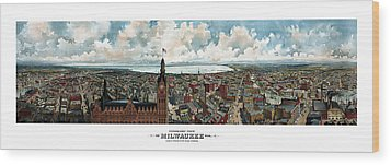 Panoramic View Of Milwaukee Wisconsin Wood Print by War Is Hell Store