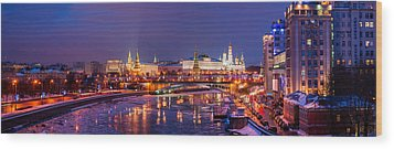 Panoramic View Of Moscow River And Moscow Kremlin  - Featured 3 Wood Print by Alexander Senin