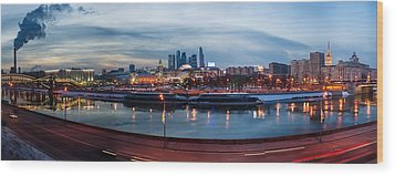 Panoramic View Of Moscow River - Kiev Railway Station And Square Of Europe - Featured 3 Wood Print by Alexander Senin