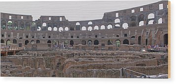 Panoramic View Of The Colosseum Wood Print by Allan Levin