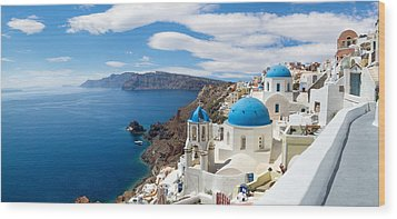 Panoramic View Of The Oia Village Wood Print