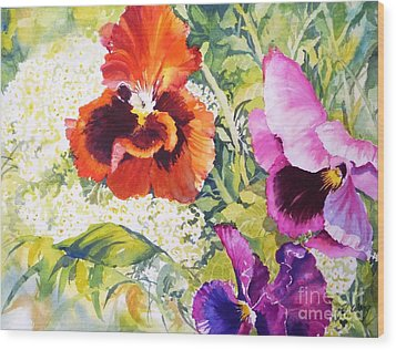 Pansies Delight #2 Wood Print by Betty M M   Wong