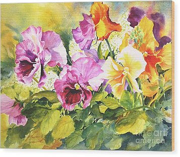 Pansies Delight #3 Wood Print by Betty M M   Wong