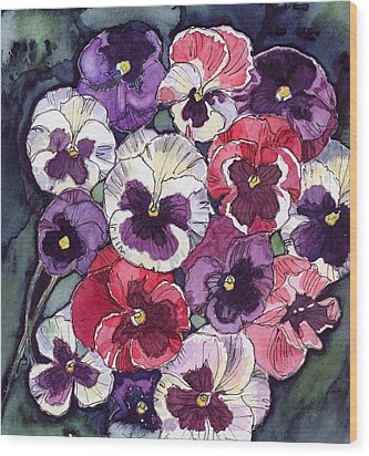 Wood Print featuring the painting Pansies by Katherine Miller