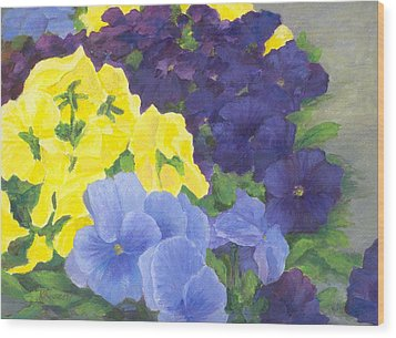 Pansy Garden Bright Colorful Flowers Painting Pansies Floral Art Artist K. Joann Russell Wood Print