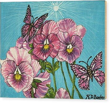Wood Print featuring the painting Pansy Pinwheels And The Magical Butterflies by Kimberlee Baxter