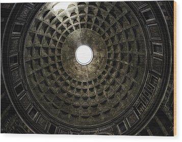 Pantheon Oculus Wood Print by Joan Carroll