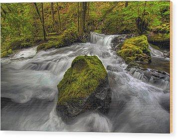 Panther Creek Falls Wood Print by David Gn