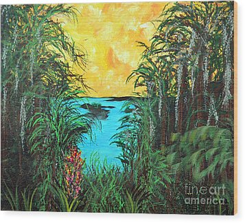 Wood Print featuring the painting Panther Island In The Bayou by Alys Caviness-Gober