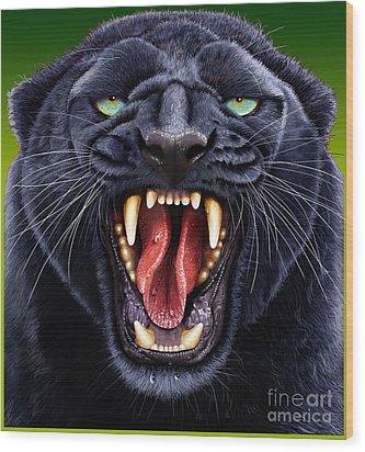 Panther Wood Print by Jurek Zamoyski