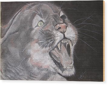 Panther Wood Print by Rebecca Wiltfong Frisbee