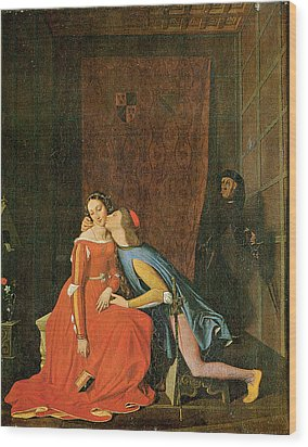 Paolo And Francesca Wood Print by Jean-Auguste-Dominique Ingres