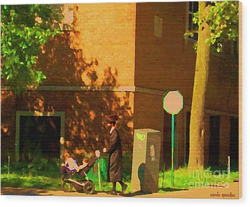 Papa And The Little Ones Sunday Afternoon Stroll On The Avenues Montreal City Scene Carole Spandau Wood Print by Carole Spandau