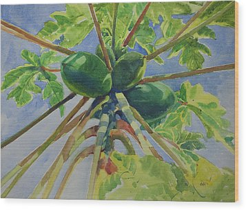 Papaya Wood Print by Helal Uddin