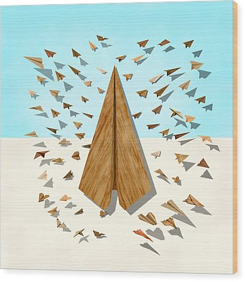 Paper Airplanes Of Wood 10 Wood Print by YoPedro